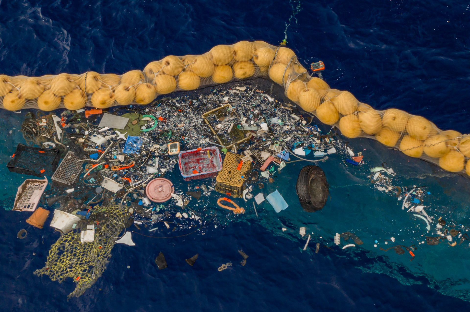Image via The Ocean Cleanup. The project cleaned up plastic as well as a wheel.