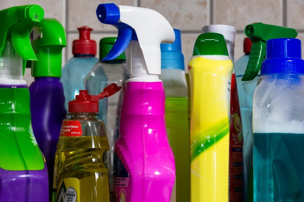 Colorful cleaning bottles
