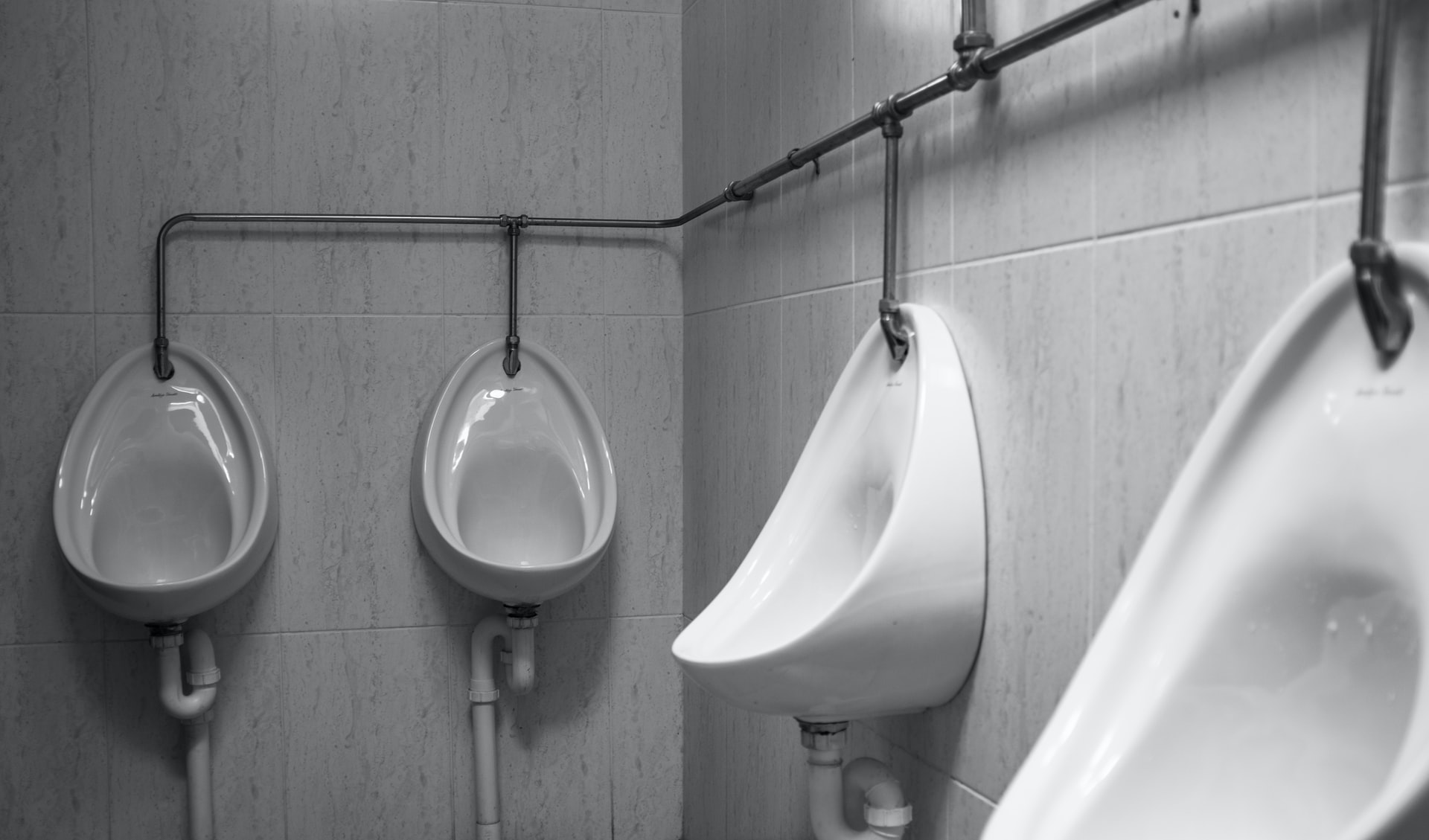Black and white urinals